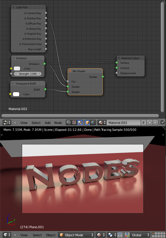 Cycles Material Nodes Setup Plane emitting light casting Shadow