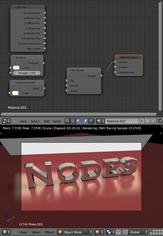Cycles Material Nodes Setup Plane emitting light Transparent Shadow