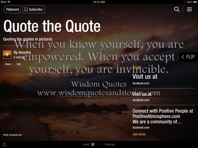 iPad screenshot of FlipBoard Magazine Quote the Quote