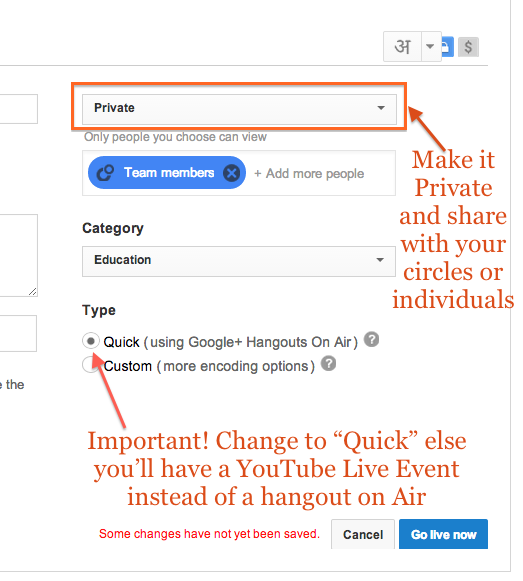 Private Hangouts on Air - Settings
