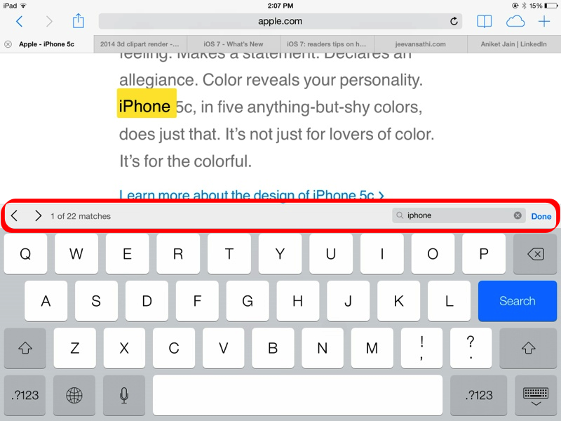 Screenshot - Search on this page  - iOS 7