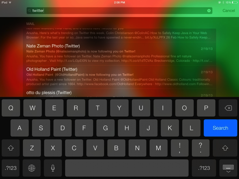 Screenshot - Spotlight Search on iPad - iOS 7