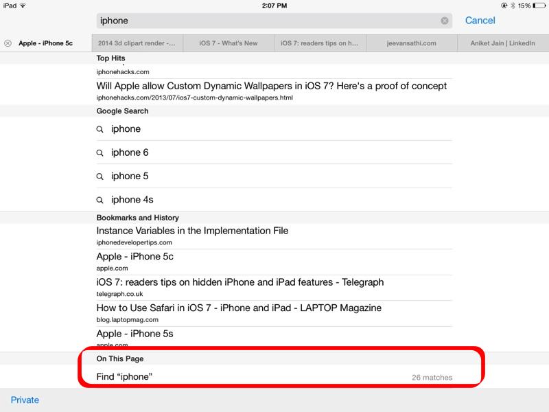 Screenshot - Find on Page on iPad - Safari iOS 7