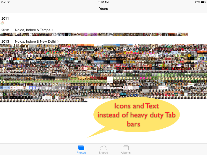 Subtle buttons with flat icons and text in Photos app - iOS 7 - iPad Screenshot
