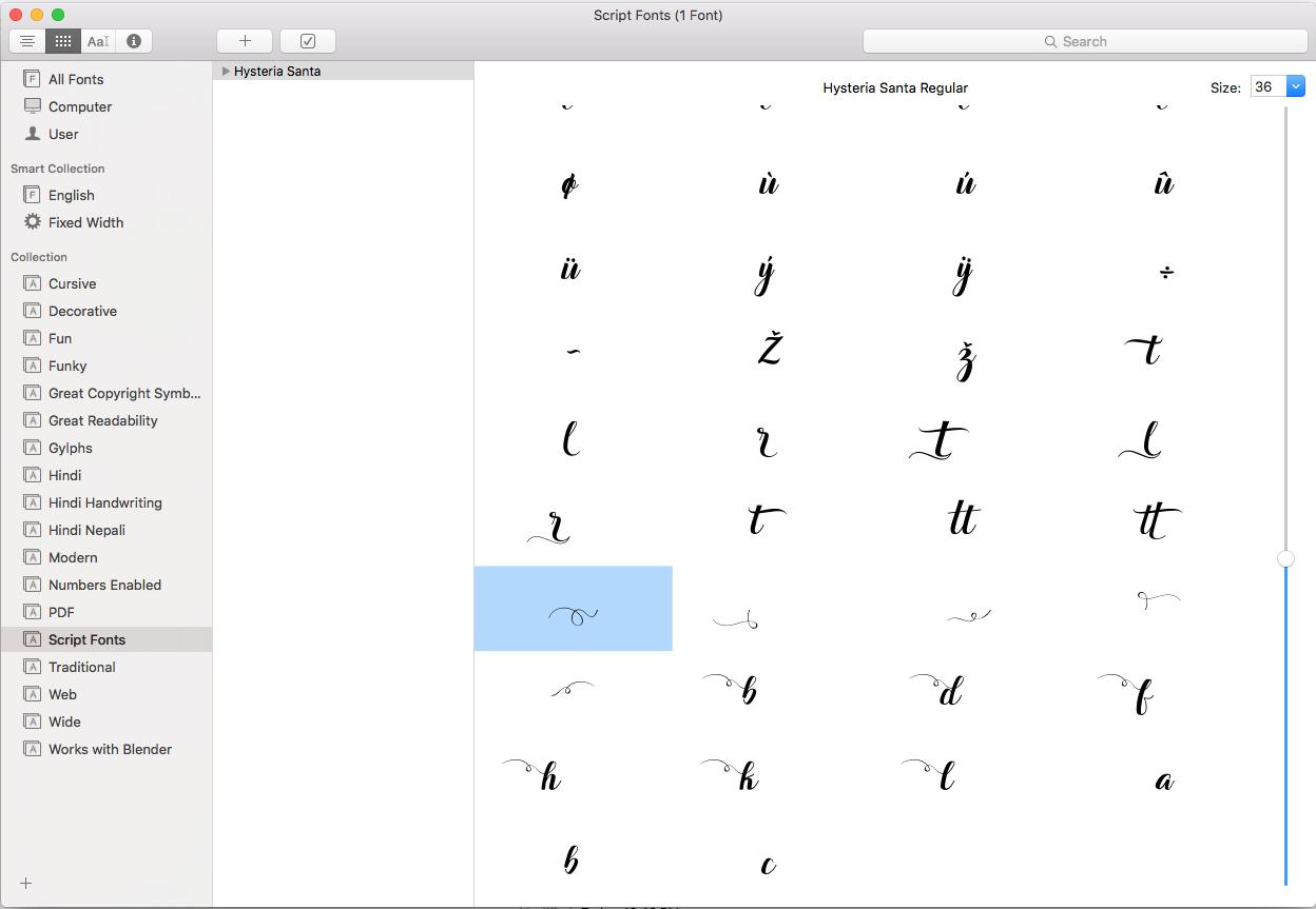 FontBook on MacOS - Hysteria Santa Script Repertoire View