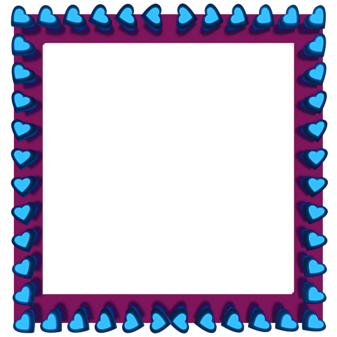 Blue Love Hearts Reflection on Magenta Square Border - Valentine Clipart