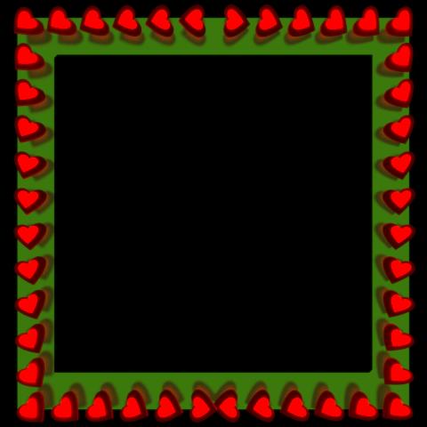 Red Love Hearts Reflection on Square Green Border - Valentine Border Clip art