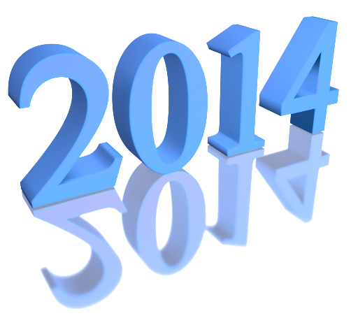 2014 - Beautiful Pale Blue 3d Clip-art with Reflection