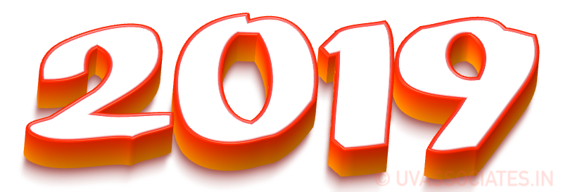 2019 3d Text Digits Laying Flat Red Orange