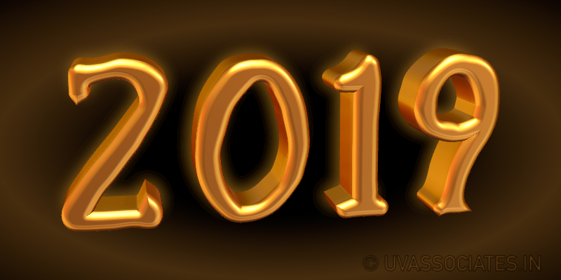 digits 2019 in a bright golden 3d style