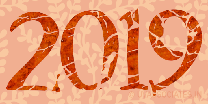 2019 clip-art with Red grunge textured look