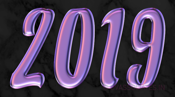 2019 Digits in Liquid purple on marble black background