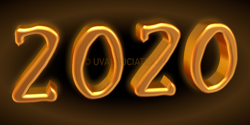 digits 2020 in a bright golden 3d style