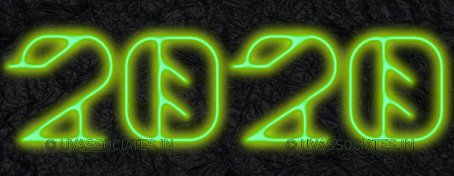 Green light Glowing digits 2020