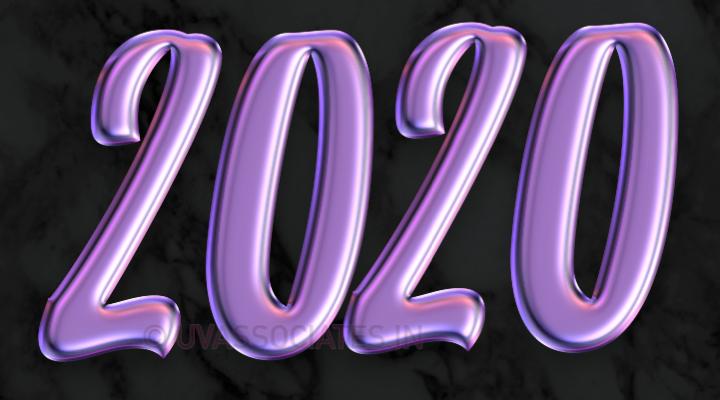 2020 Digits in Liquid purple on marble black background