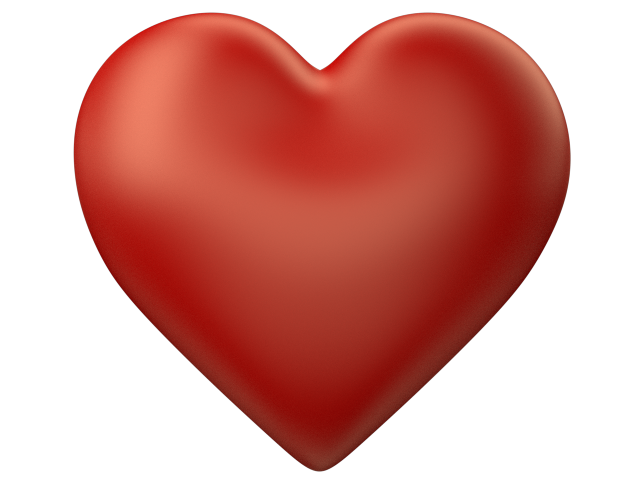 Red 3d Love Heart With Transparent Background
