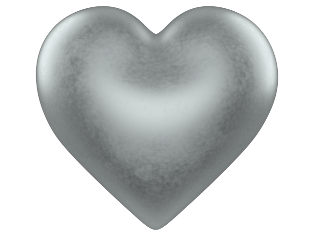 Shining Silver 3d Love Heart w/ Transparent Background - Free Valentine Clip-art