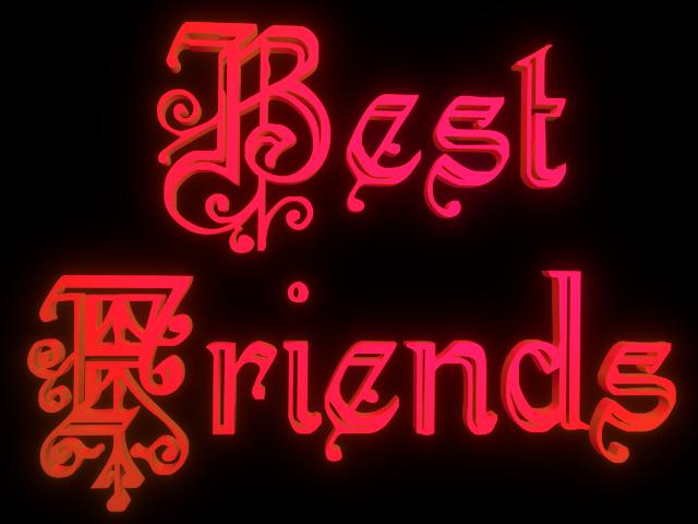 Best Friends - 3d clip-art for Friendship Day - Pink Red Blend