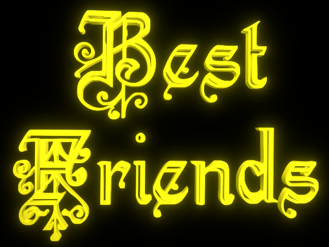 Best Friends - 3d clip-art for Friendship Day - Glowing Yellow