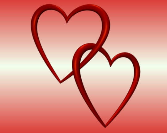 Red Entangled Love Hearts Red White Background - Valentine Clip-art