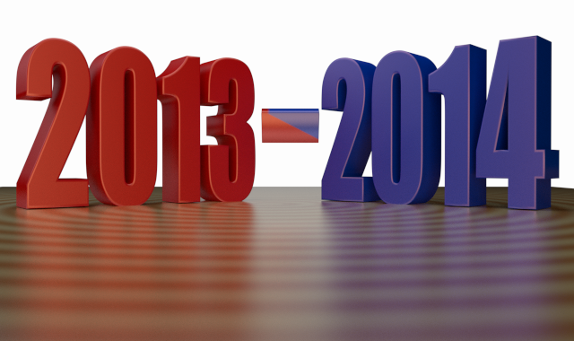 Fiscal Year - 2013 - 2014 - 3d Render - Clip-art with Stylish Reflection (Red Bl