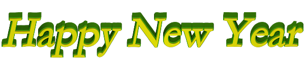 Bevel Bordered Happy new Year 3d Text Clip-art in Green Yellow color.