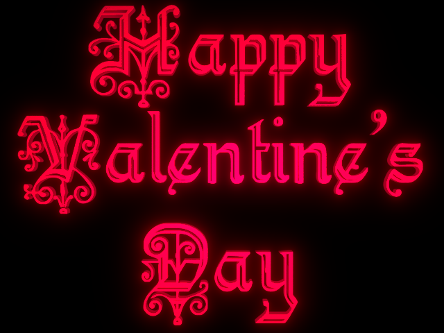 beautiful happy valentines day text glowing on black background