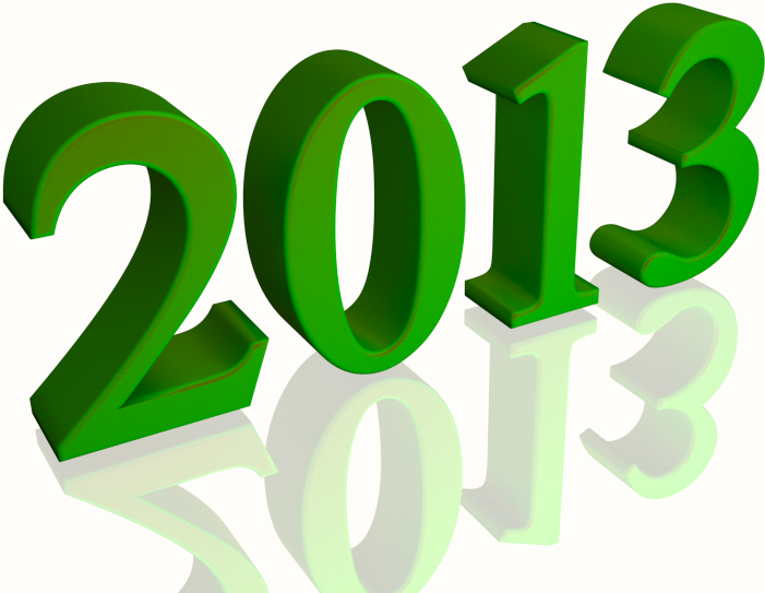 Shiny Green 2013 3d text (with Reflection) Clip-art
