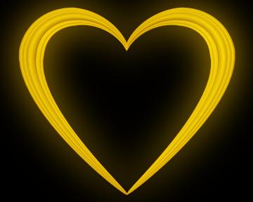 Yellow Love Heart Embossed Border Clip Art - Valentine Clip-art