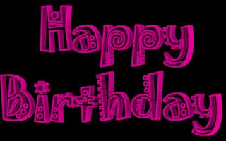 Jokerman Font Happy Birthday 3d Text Clip-art in Magenta color.