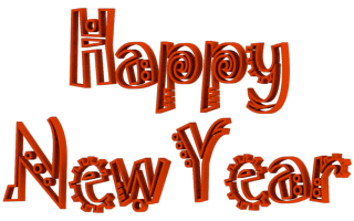 Jokerman Font Happy New Year 3d Text Clip-art in Orange color.
