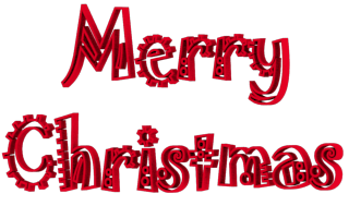 Jokerman Font Merry Christmas 3d Text Clip-art in Red color.
