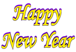yellow purple happy new year shadow bordered clip art