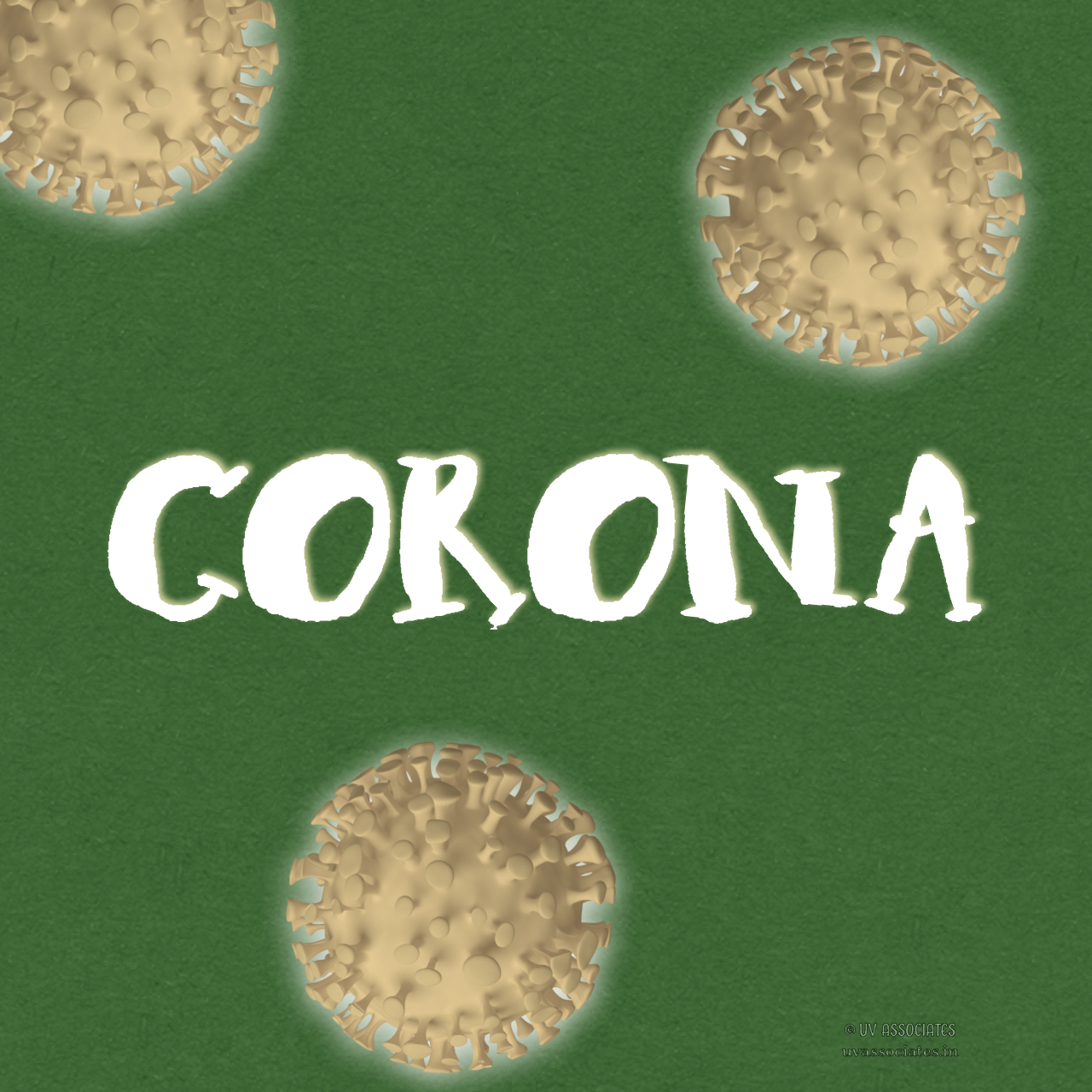 Corona Text on Green background with 3d render of Coronavirus Cells