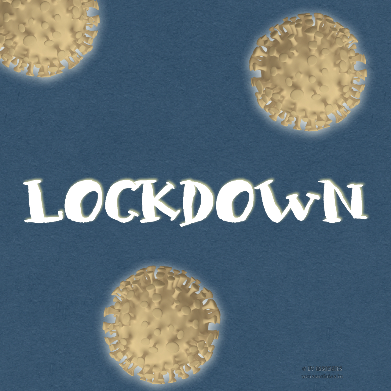 Pale Coronavirus Cells framing Lockdown Text
