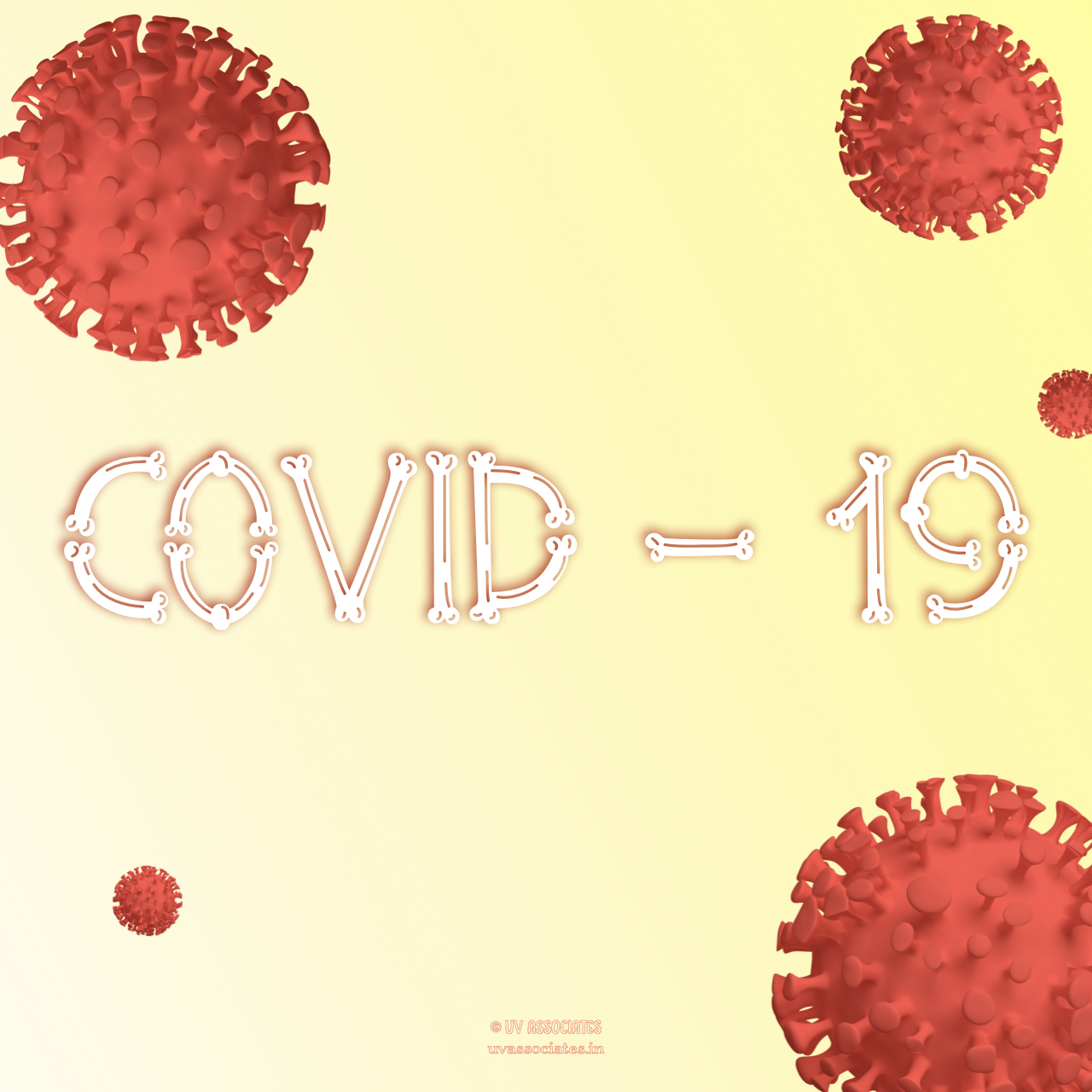 Red Coronavirus cells with stylized text on Yellow Background