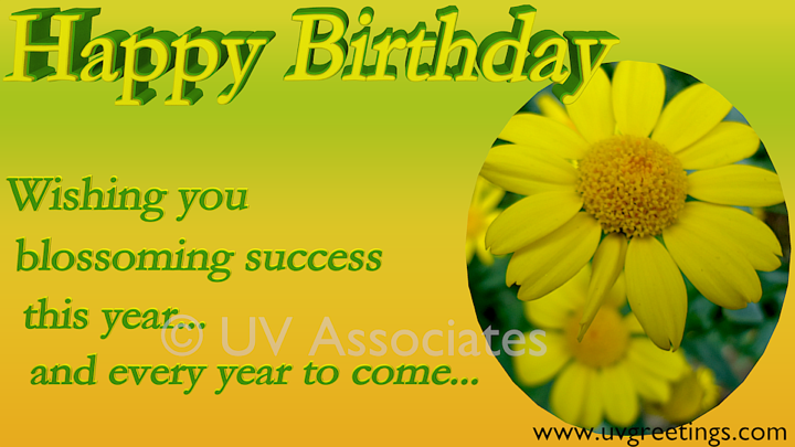 Happy Birthday - Wishing you Blossoming Success - Bright ...