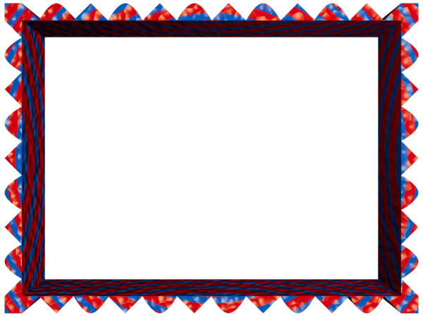 Fancy Loop Cut Border in Red Blue color, Rectangular perfect for Powerpoint