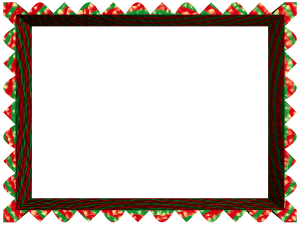 Fancy Loop Cut Border in Red Green color, Rectangular perfect for Powerpoint