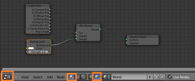 Cycles World Material nodes for a shadeless white Background