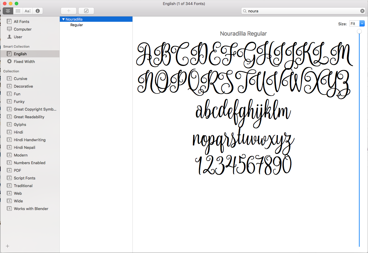 FontBook on MacOS - Nouradilla Script Sample View