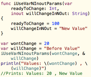 Swift Functions: Variable Parameters and Inout Parameters