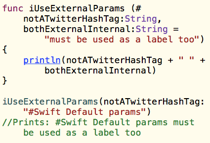 Swift Functions: External Parameters and Default Parameters