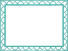 Artistic Loop Triangle Border in Aqua color, Rectangular perfect for Powerpoint