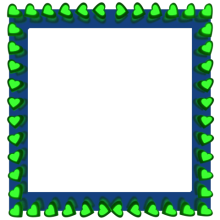 Green Love Hearts Reflection on Blue Square Border - Valentine Border Clipart