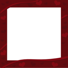 Dark Red Square Border with Hearts Decor - Valentine Border Clip art