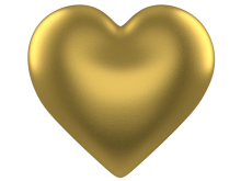 Shining Gold 3d Love Heart w/ Transparent Background - Free Valentine Clip-art