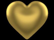 Shining Gold 3d Love Heart w/ Transparent Background - Free Valentine Clip-art