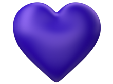 Indigo 3d Love Heart with Transparent Background - Valentine Clip-art
