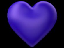 Indigo 3d Love Heart with Transparent Background - Valentine Clip-art